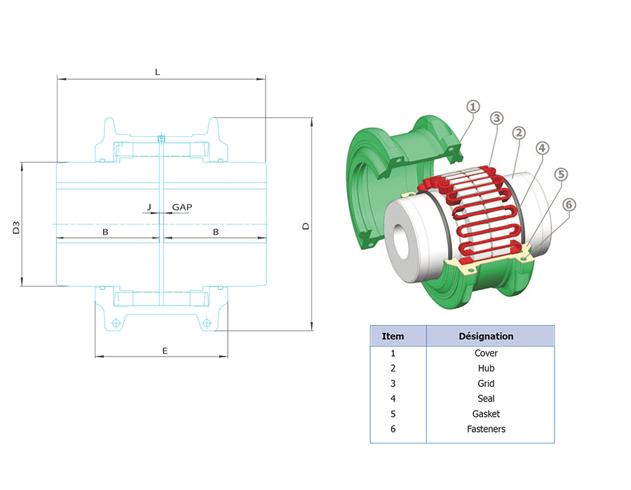 Winflex DG Tapered Grid Couplings design